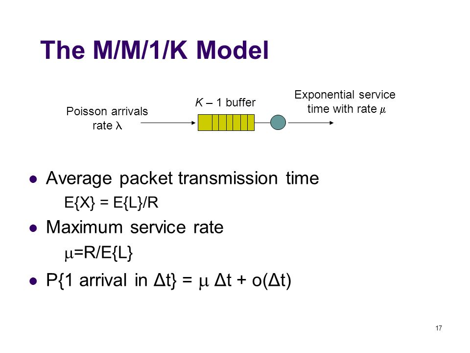 17 Poisson arrivals rate K – 1 buffer Exponential service time with rate  The M/M/1/K Model Average packet transmission time E{X} = E{L}/R Maximum se