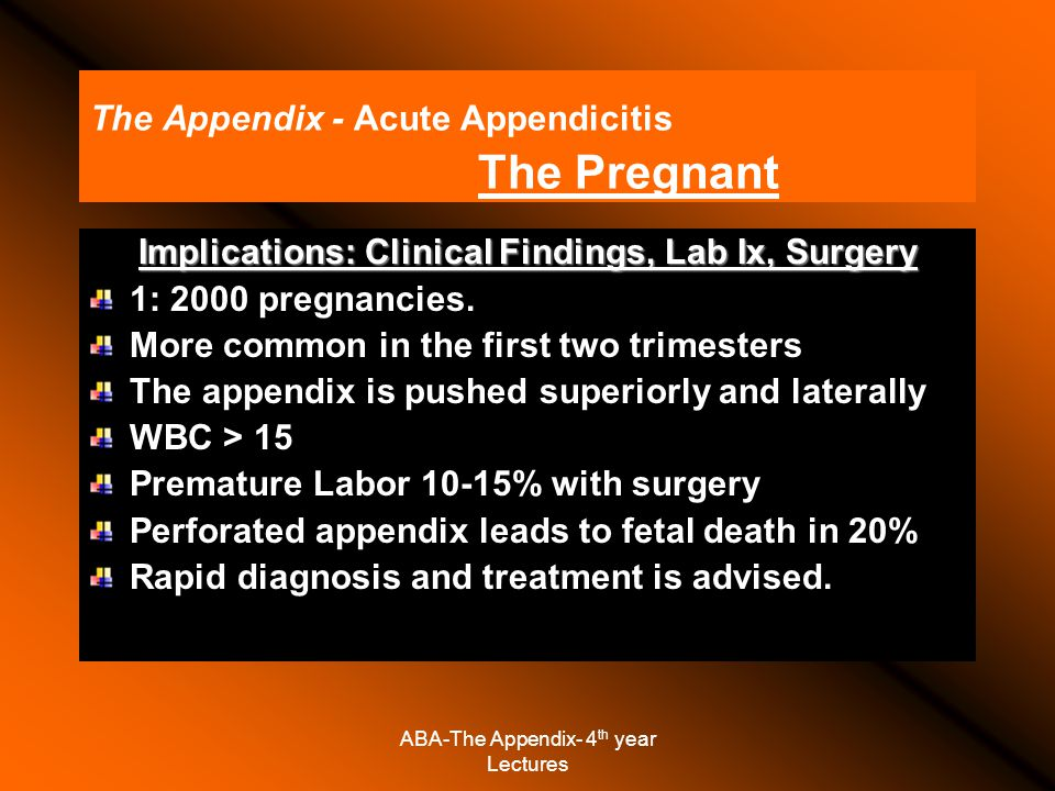 ABA-The Appendix- 4 th year Lectures The Appendix - Acute Appendicitis The Pregnant Implications: Clinical Findings, Lab Ix, Surgery 1: 2000 pregnancies.