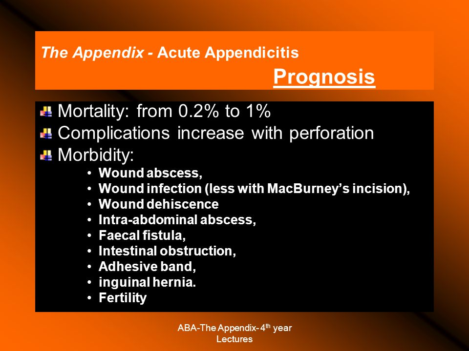 ABA-The Appendix- 4 th year Lectures The Appendix - Acute Appendicitis Prognosis Mortality: from 0.2% to 1% Complications increase with perforation Morbidity: Wound abscess, Wound infection (less with MacBurney's incision), Wound dehiscence Intra-abdominal abscess, Faecal fistula, Intestinal obstruction, Adhesive band, inguinal hernia.