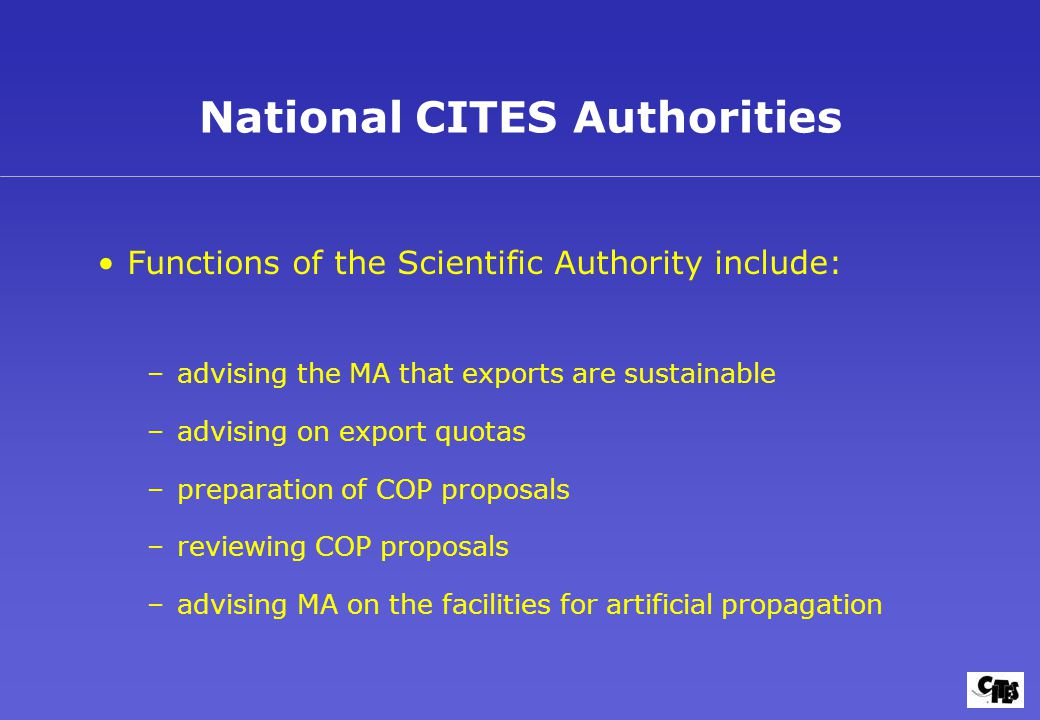 National CITES Authorities Functions of the Scientific Authority include: –advising the MA that exports are sustainable –advising on export quotas –preparation of COP proposals –reviewing COP proposals –advising MA on the facilities for artificial propagation