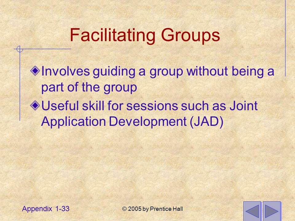 © 2005 by Prentice Hall Appendix 1-33 Facilitating Groups Involves guiding a group without being a part of the group Useful skill for sessions such as Joint Application Development (JAD)
