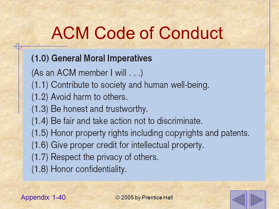 © 2005 by Prentice Hall Appendix 1-40 ACM Code of Conduct