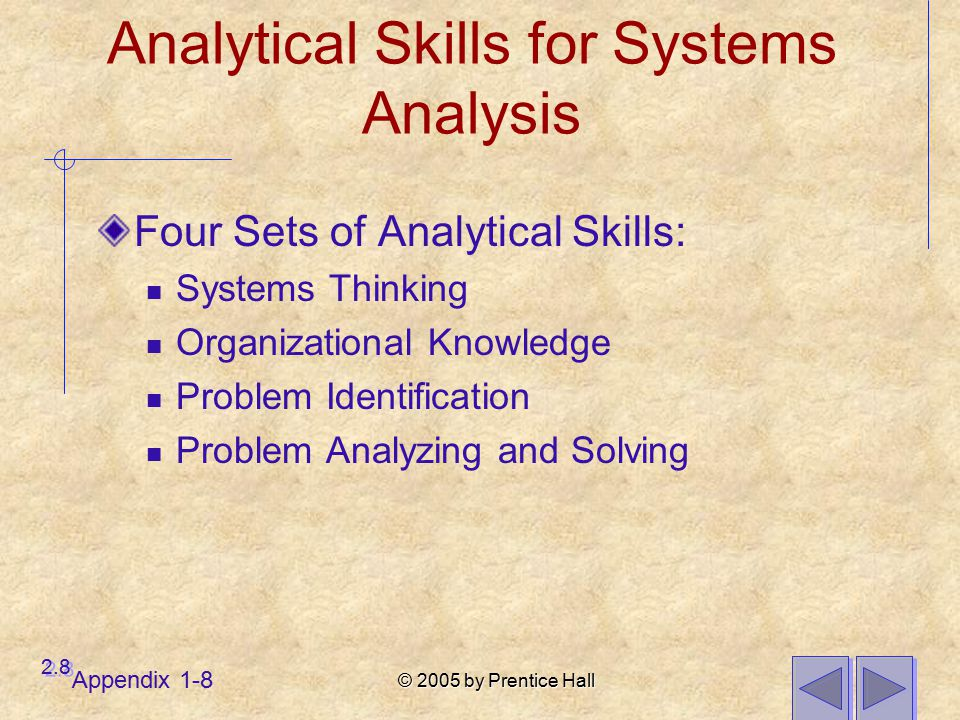 © 2005 by Prentice Hall Appendix 1-8 Analytical Skills for Systems Analysis Four Sets of Analytical Skills: Systems Thinking Organizational Knowledge Problem Identification Problem Analyzing and Solving 2.8