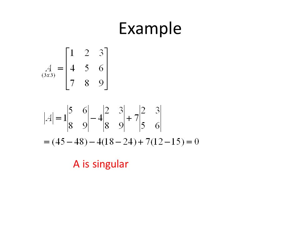 Example A is singular