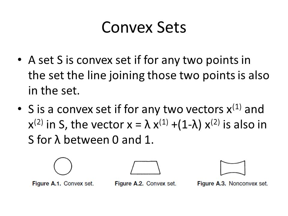 Convex Sets A set S is convex set if for any two points in the set the line joining those two points is also in the set. S is a convex set if for any