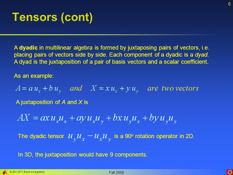 ELEN 3371 Electromagnetics Fall 2008 7 Tensors (cont 2) As we discussed, while a vector has a single direction, a dyad is a dual-directional quantity.