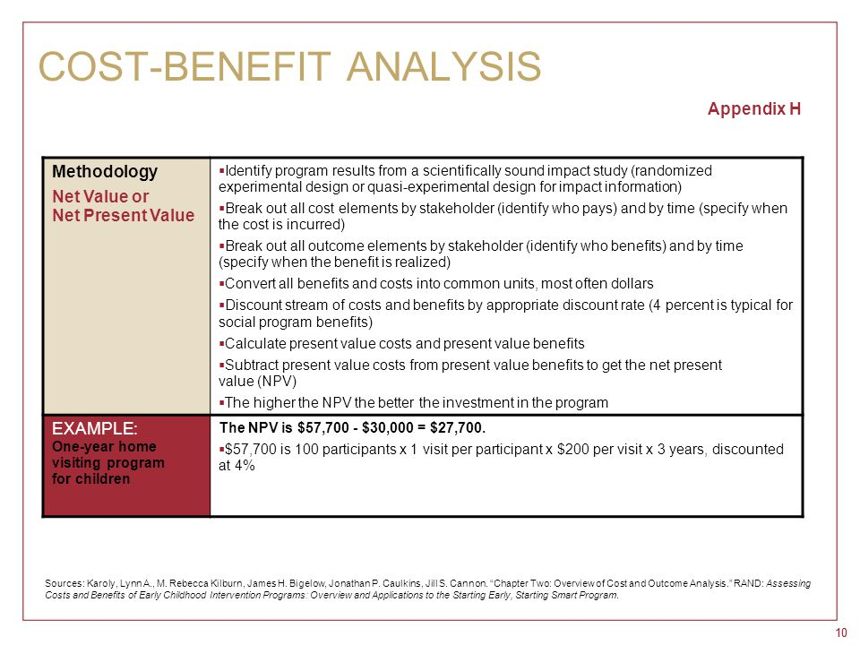 10 COST-BENEFIT ANALYSIS Appendix H Methodology Net Value or Net Present Value  Identify program results from a scientifically sound impact study (ra