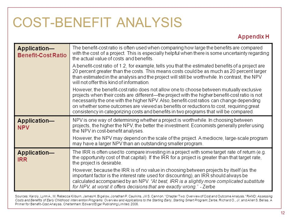 12 COST-BENEFIT ANALYSIS Appendix H Application— Benefit-Cost Ratio The benefit-cost ratio is often used when comparing how large the benefits are com