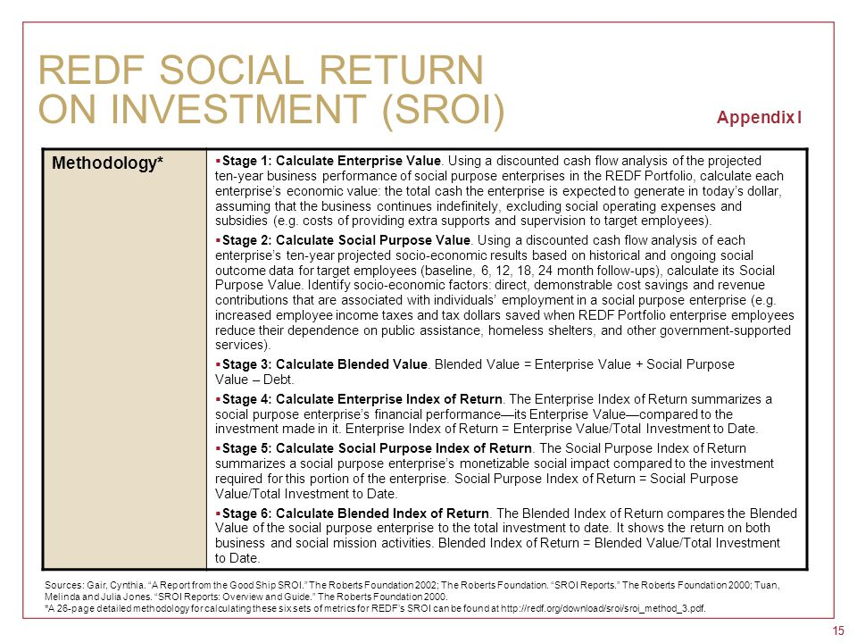 15 REDF SOCIAL RETURN ON INVESTMENT (SROI) Appendix I Methodology*  Stage 1: Calculate Enterprise Value. Using a discounted cash flow analysis of the