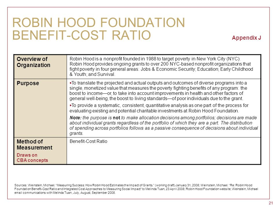 21 ROBIN HOOD FOUNDATION BENEFIT-COST RATIO Appendix J Overview of Organization Robin Hood is a nonprofit founded in 1988 to target poverty in New Yor