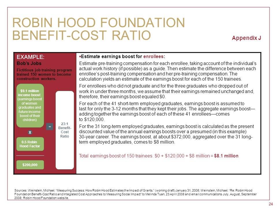 24 ROBIN HOOD FOUNDATION BENEFIT-COST RATIO Appendix J EXAMPLE: Bob's Jobs Fictitious job training program trained 150 women to become construction wo