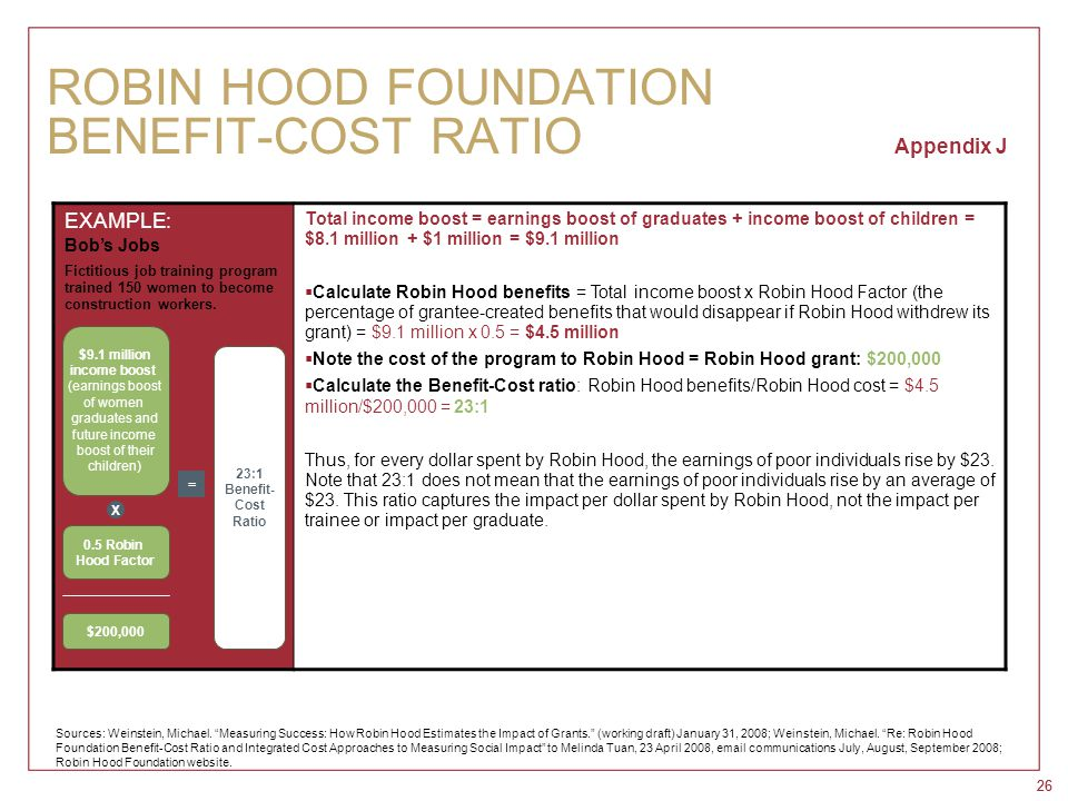 26 ROBIN HOOD FOUNDATION BENEFIT-COST RATIO Appendix J EXAMPLE: Bob's Jobs Fictitious job training program trained 150 women to become construction wo