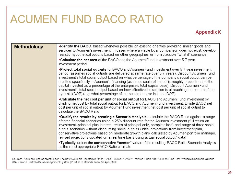 29 ACUMEN FUND BACO RATIO Appendix K Methodology  Identify the BACO, based whenever possible on existing charities providing similar goods and servic