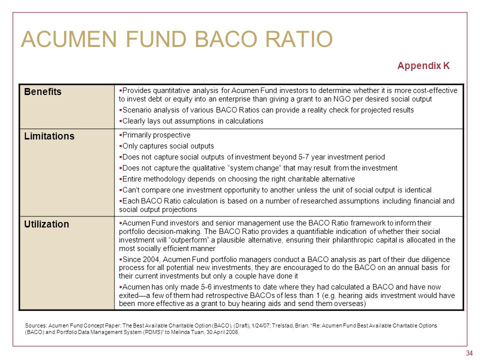 34 ACUMEN FUND BACO RATIO Appendix K Benefits  Provides quantitative analysis for Acumen Fund investors to determine whether it is more cost-effectiv