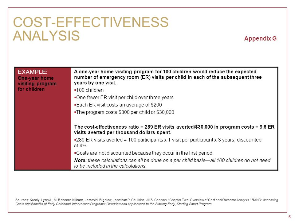 66 COST-EFFECTIVENESS ANALYSIS Appendix G EXAMPLE: One-year home visiting program for children A one-year home visiting program for 100 children would