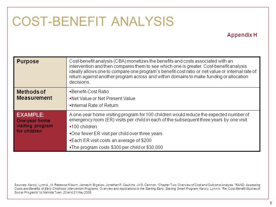 88 COST-BENEFIT ANALYSIS Appendix H Purpose Cost-benefit analysis (CBA) monetizes the benefits and costs associated with an intervention and then comp