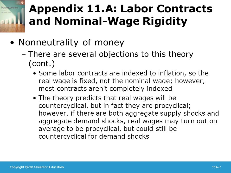 Copyright ©2014 Pearson Education11A-7 Appendix 11.A: Labor Contracts and Nominal-Wage Rigidity Nonneutrality of money –There are several objections t