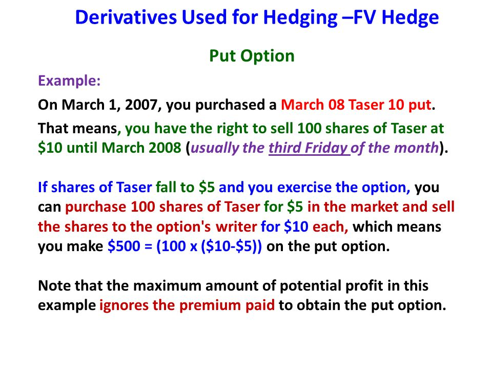 Derivatives Used for Hedging –FV Hedge Put Option Example: On March 1, 2007, you purchased a March 08 Taser 10 put. That means, you have the right to