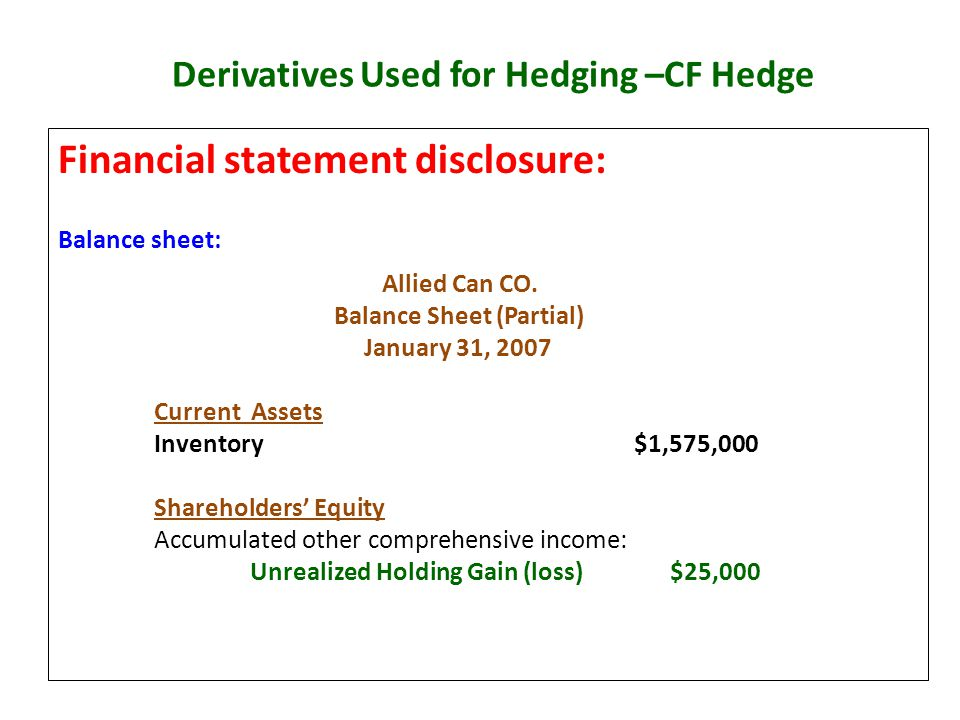 Derivatives Used for Hedging –CF Hedge Financial statement disclosure: Balance sheet: Allied Can CO. Balance Sheet (Partial) January 31, 2007 Current