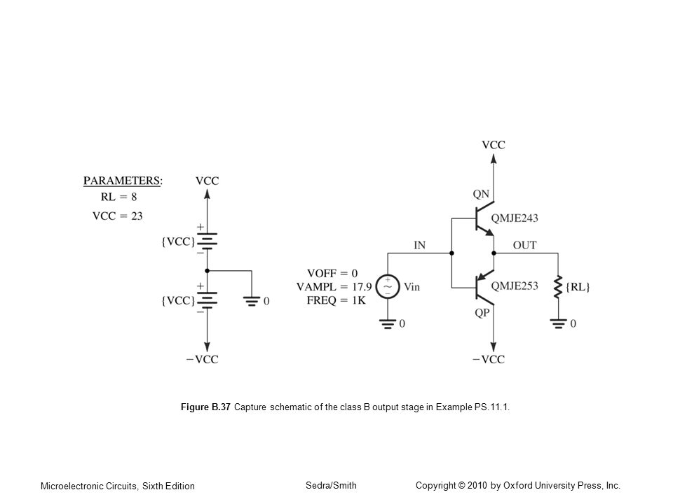Microelectronic Circuits, Sixth Edition Sedra/Smith Copyright © 2010 by Oxford University Press, Inc. Figure B.37 Capture schematic of the class B out