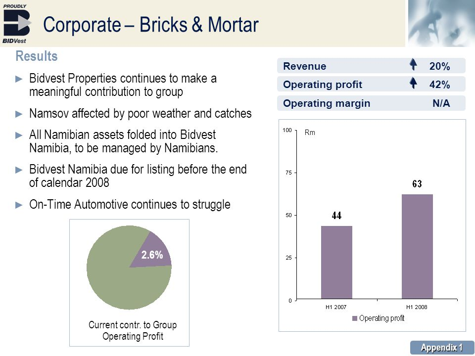 Corporate – Bricks & Mortar Results ► Bidvest Properties continues to make a meaningful contribution to group ► Namsov affected by poor weather and catches ► All Namibian assets folded into Bidvest Namibia, to be managed by Namibians.