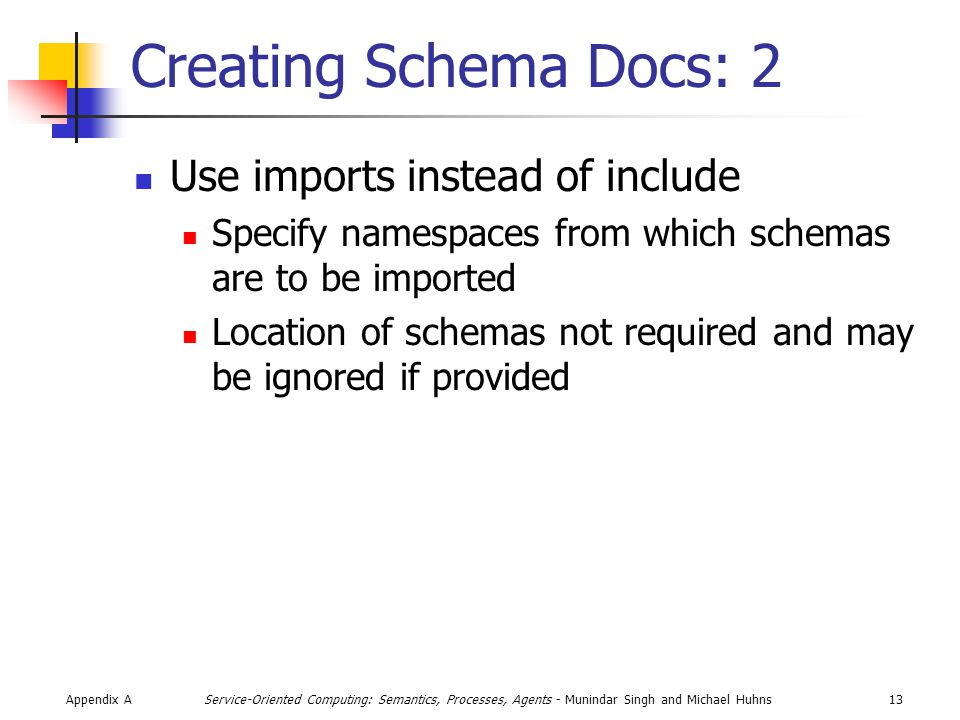 Appendix A13Service-Oriented Computing: Semantics, Processes, Agents - Munindar Singh and Michael Huhns Creating Schema Docs: 2 Use imports instead of include Specify namespaces from which schemas are to be imported Location of schemas not required and may be ignored if provided