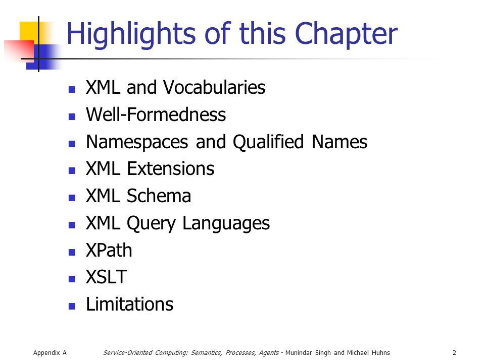Appendix A3Service-Oriented Computing: Semantics, Processes, Agents - Munindar Singh and Michael Huhns Brief Introduction to XML Basics Parsing Storage Transformations