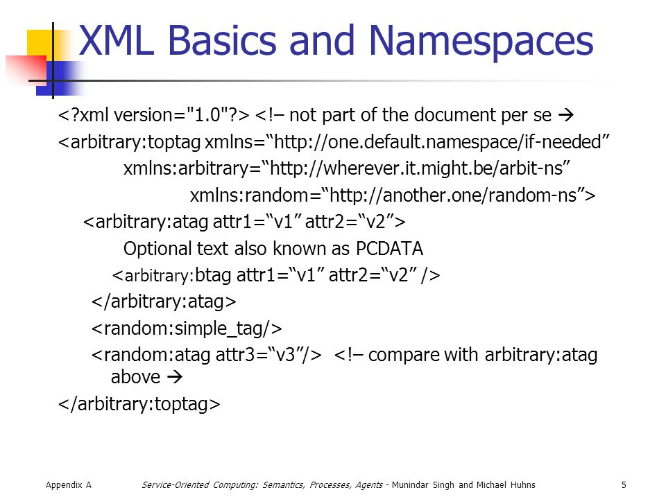 Appendix A5Service-Oriented Computing: Semantics, Processes, Agents - Munindar Singh and Michael Huhns XML Basics and Namespaces <!– not part of the document per se  <arbitrary:toptag xmlns= http://one.default.namespace/if-needed xmlns:arbitrary= http://wherever.it.might.be/arbit-ns xmlns:random= http://another.one/random-ns > Optional text also known as PCDATA <!– compare with arbitrary:atag above 