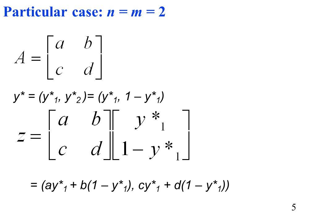 5 Particular case: n = m = 2 y* = (y* 1, y* 2 )= (y* 1, 1 – y* 1 ) = (ay* 1 + b(1 – y* 1 ), cy* 1 + d(1 – y* 1 ))