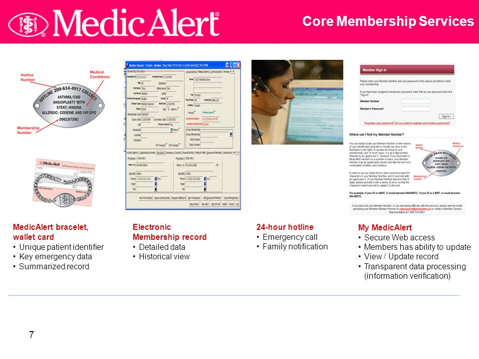 7 Core Membership Services MedicAlert bracelet, wallet card Unique patient identifier Key emergency data Summarized record Electronic Membership record Detailed data Historical view My MedicAlert Secure Web access Members has ability to update View / Update record Transparent data processing (information verification) 24-hour hotline Emergency call Family notification