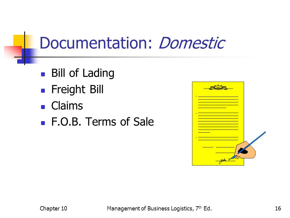 Chapter 10Management of Business Logistics, 7 th Ed.16 Documentation: Domestic Bill of Lading Freight Bill Claims F.O.B.