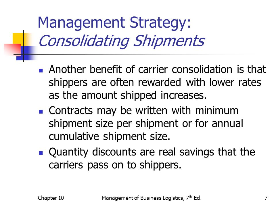Chapter 10Management of Business Logistics, 7 th Ed.8 Management Strategy: Monitoring Service Quality Product movements that are consistent, timely, and undamaged can be a competitive advantage for a customer.
