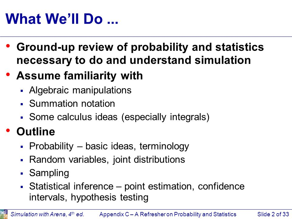 Appendix C – A Refresher on Probability and StatisticsSlide 3 of 33Simulation with Arena, 4 th ed.