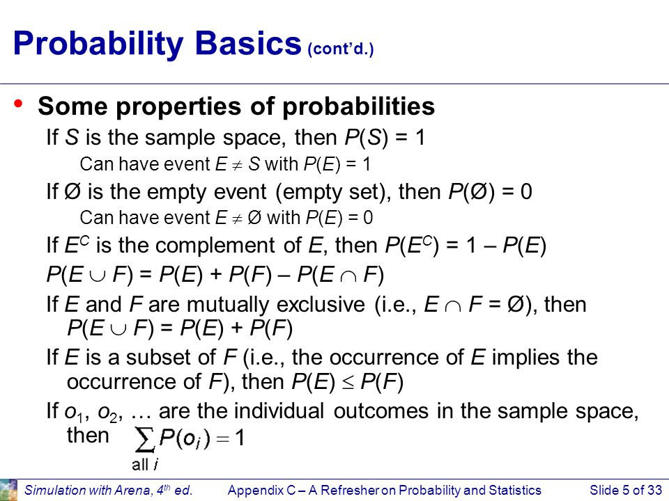 Appendix C – A Refresher on Probability and StatisticsSlide 26 of 33Simulation with Arena, 4 th ed.
