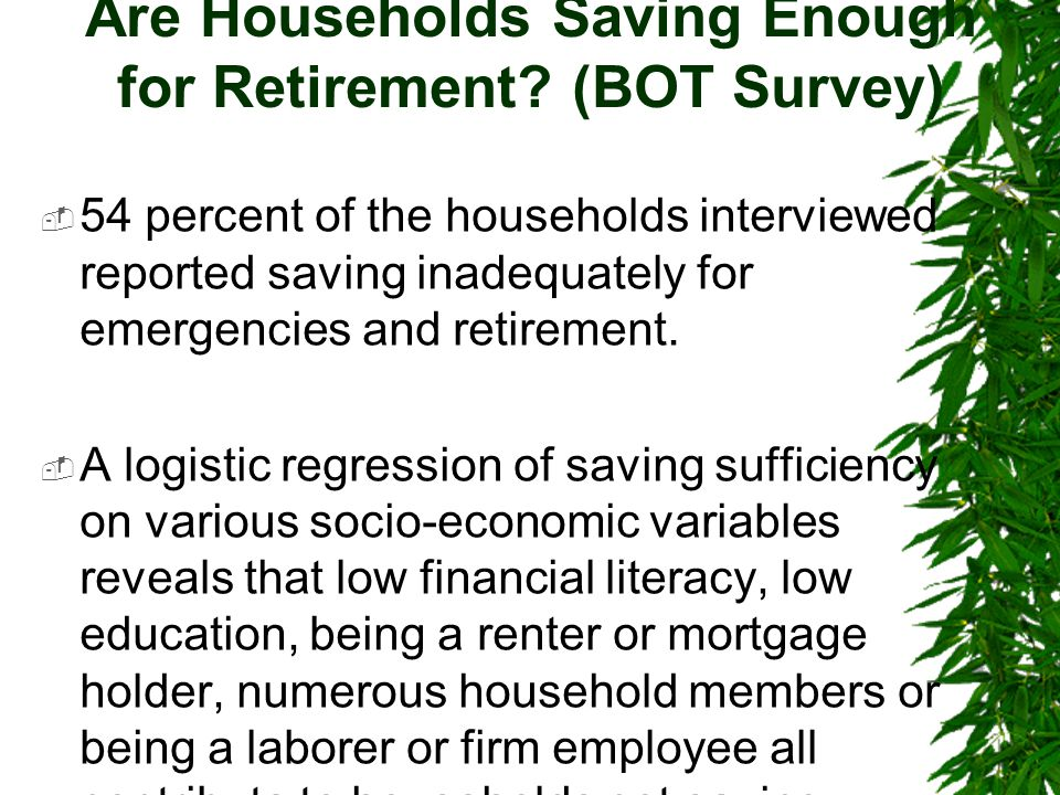 Are Households Saving Enough for Retirement.