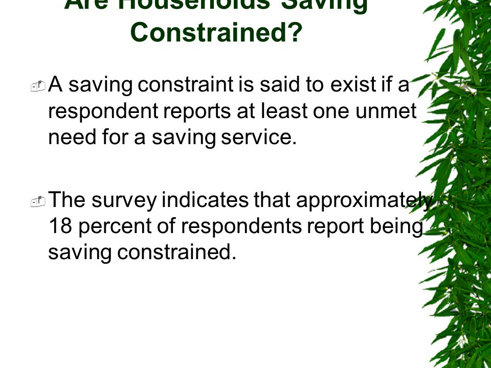 Are Households Saving Constrained.