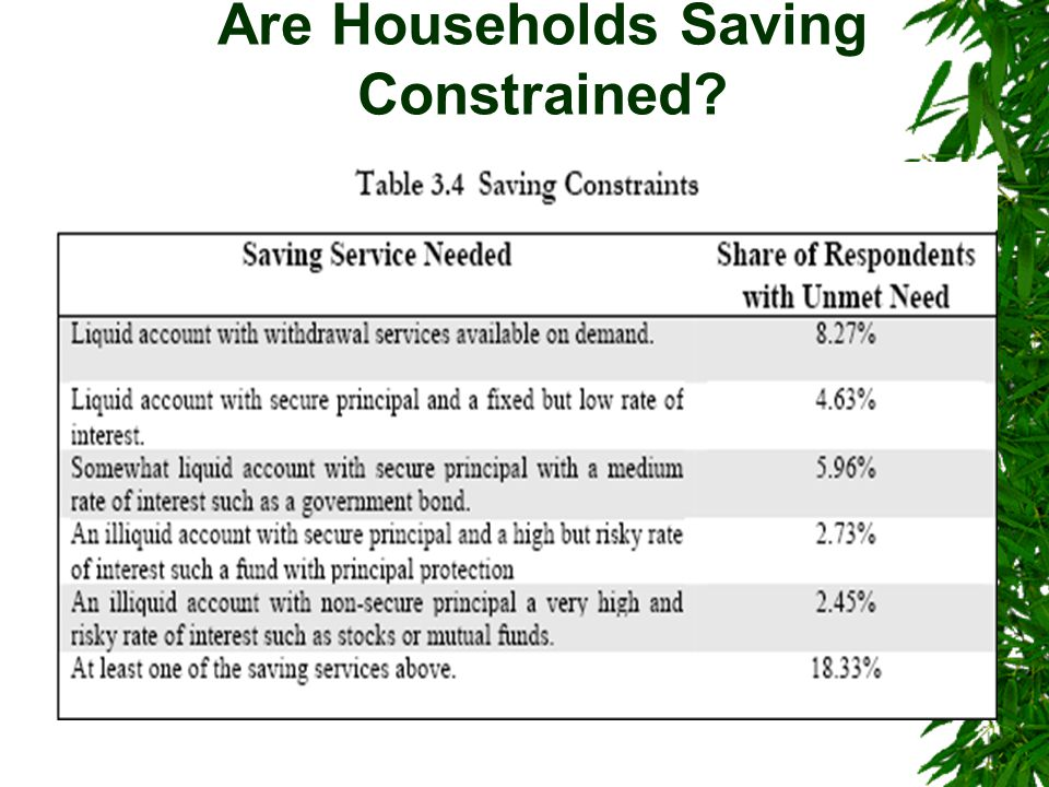 Are Households Saving Constrained?