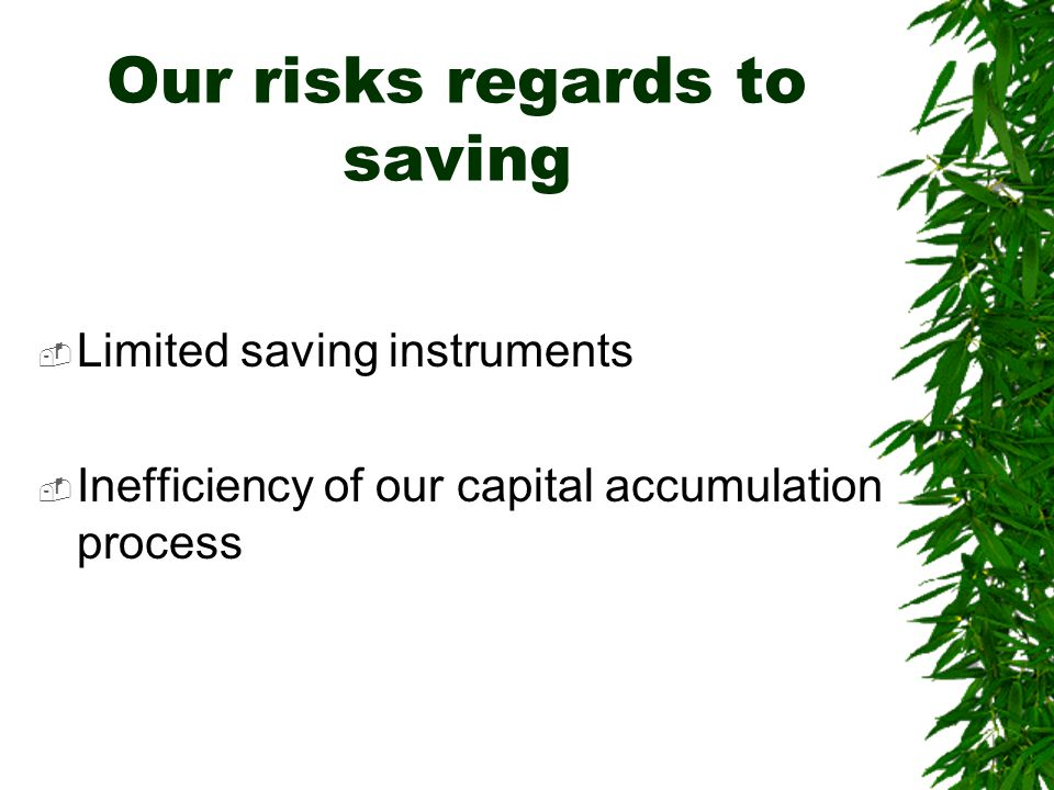 Our risks regards to saving  Limited saving instruments  Inefficiency of our capital accumulation process