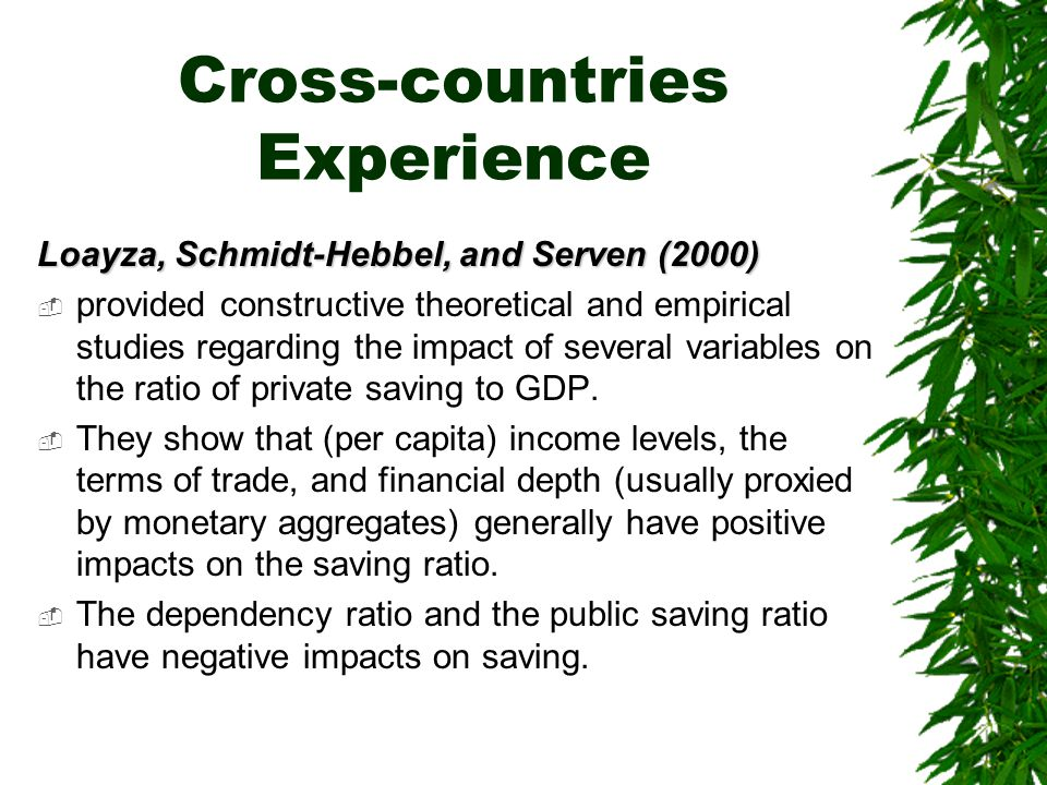 Cross-countries Experience Loayza, Schmidt-Hebbel, and Serven (2000)  provided constructive theoretical and empirical studies regarding the impact of several variables on the ratio of private saving to GDP.