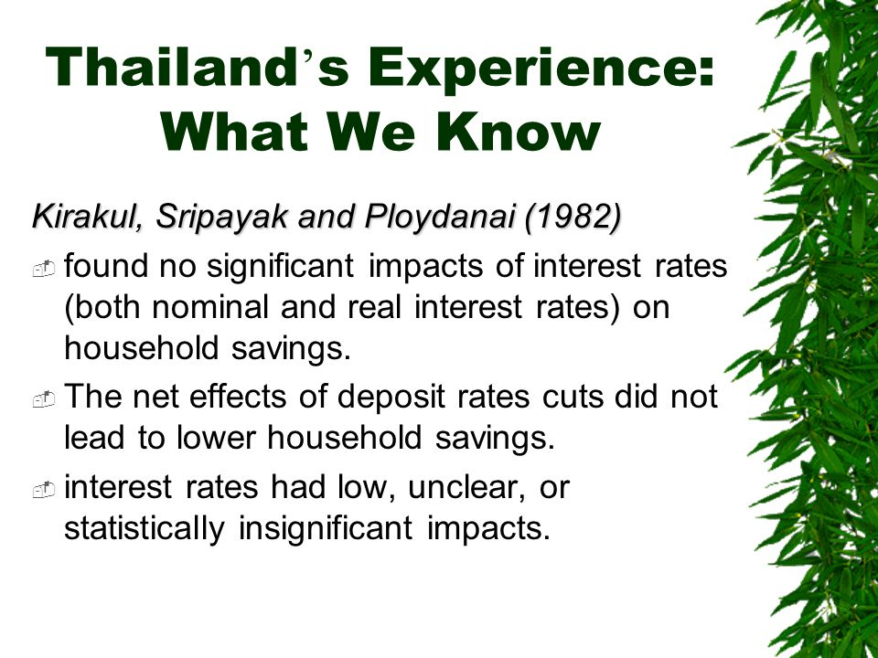 Thailand ' s Experience: What We Know Kirakul, Sripayak and Ploydanai (1982)  found no significant impacts of interest rates (both nominal and real interest rates) on household savings.