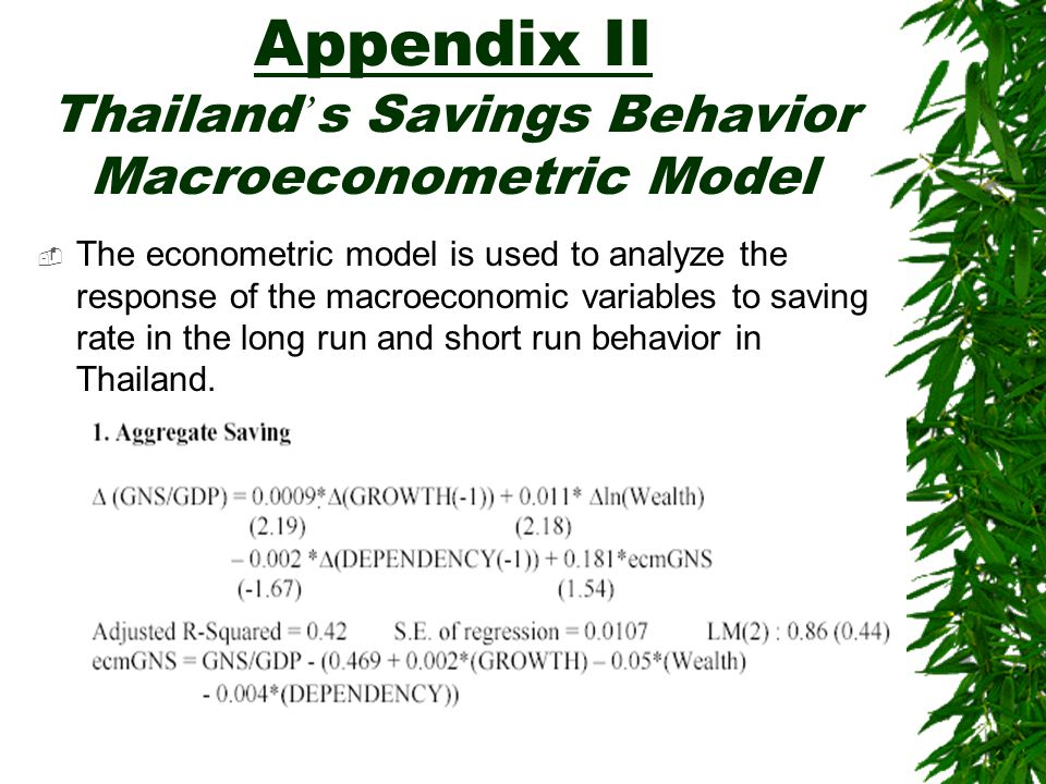Appendix II Thailand ' s Savings Behavior Macroeconometric Model  The econometric model is used to analyze the response of the macroeconomic variables to saving rate in the long run and short run behavior in Thailand.