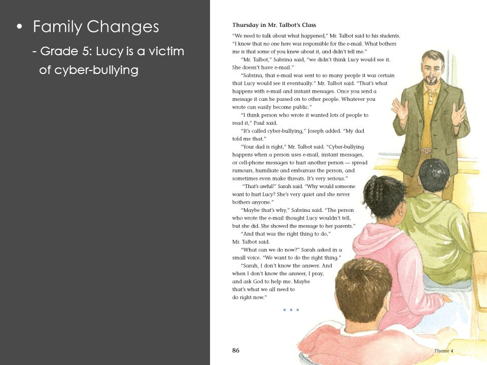 Family Changes - Grade 5: Lucy is a victim of cyber-bullying
