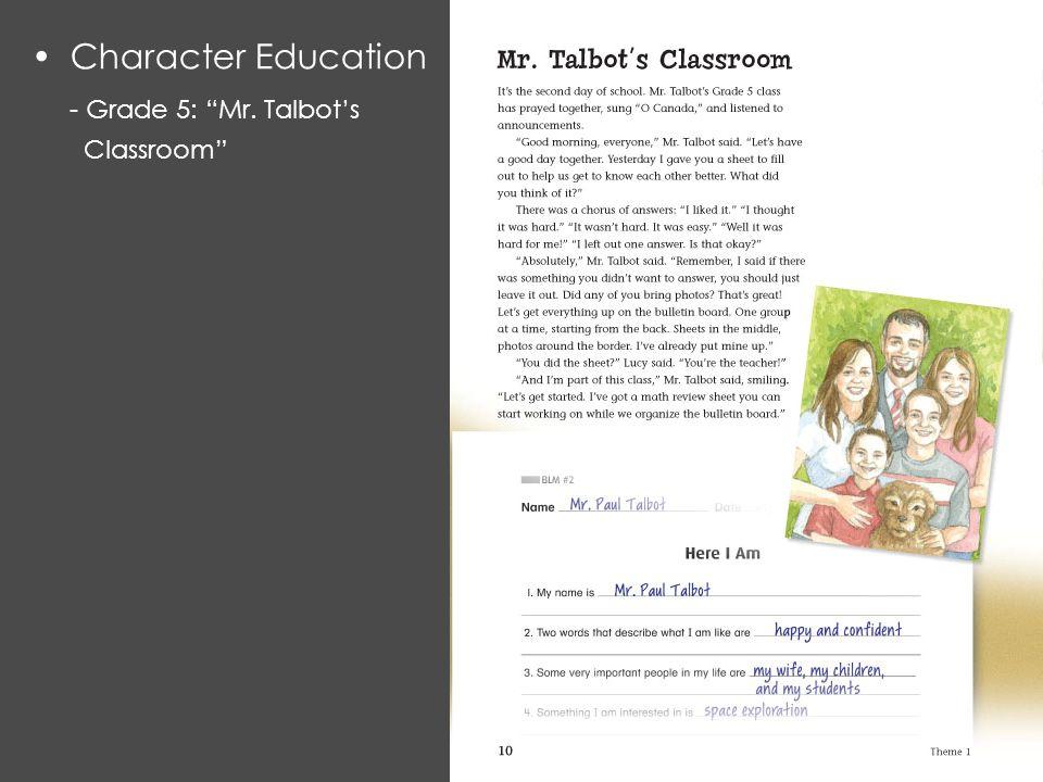 Character Education - Grade 5: Mr. Talbot's Classroom