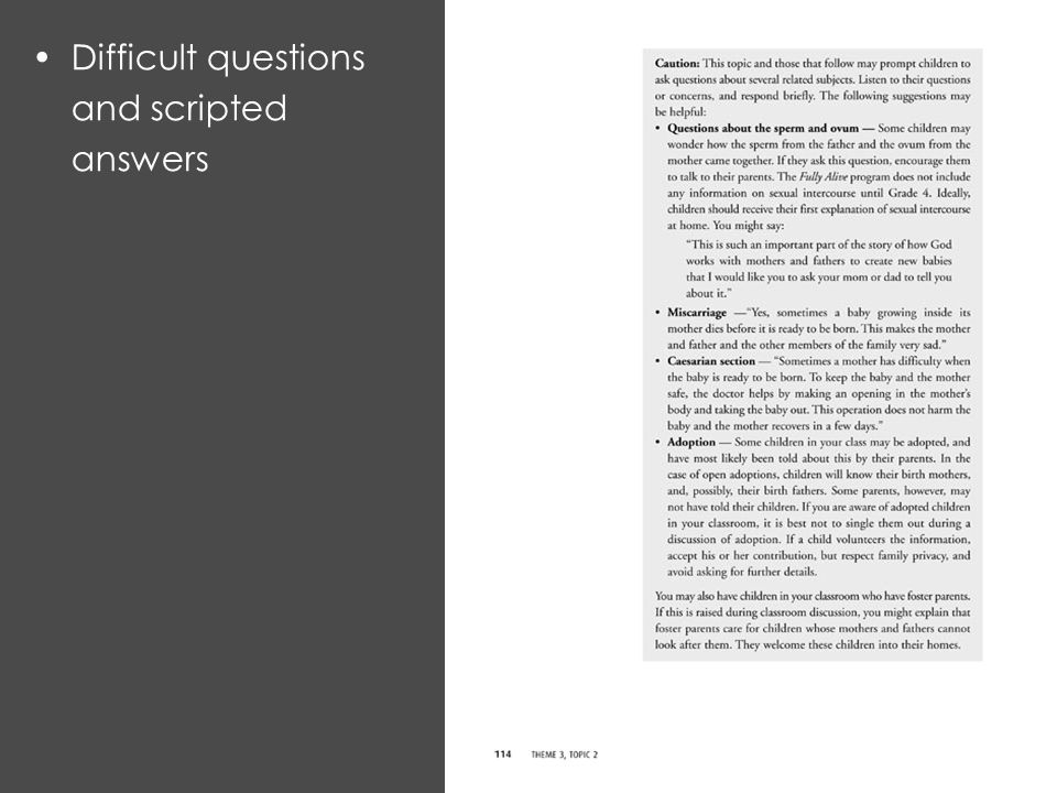Difficult questions and scripted answers