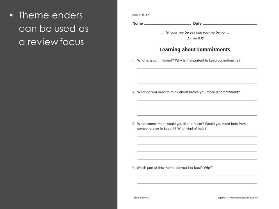Theme enders can be used as a review focus