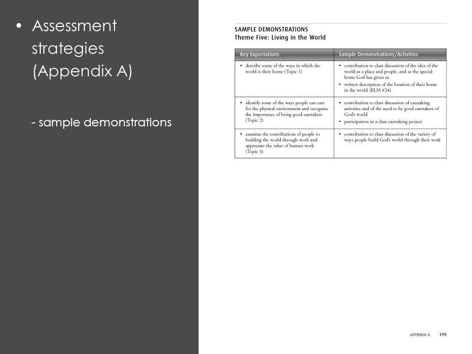 Assessment strategies (Appendix A) - sample demonstrations