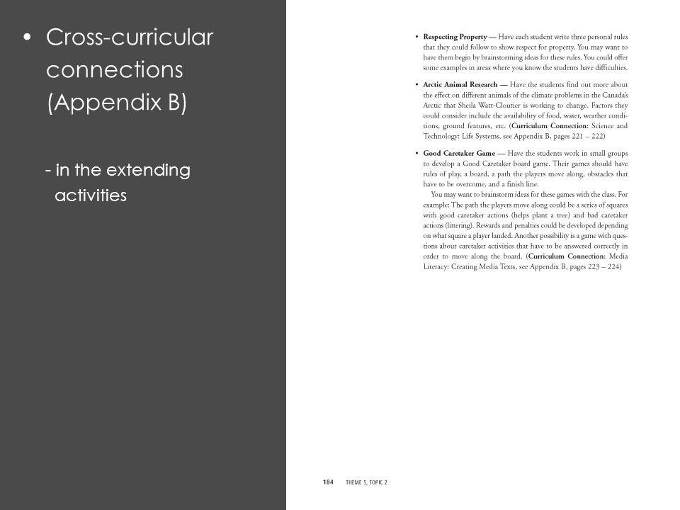 Cross-curricular connections (Appendix B) - in the extending activities