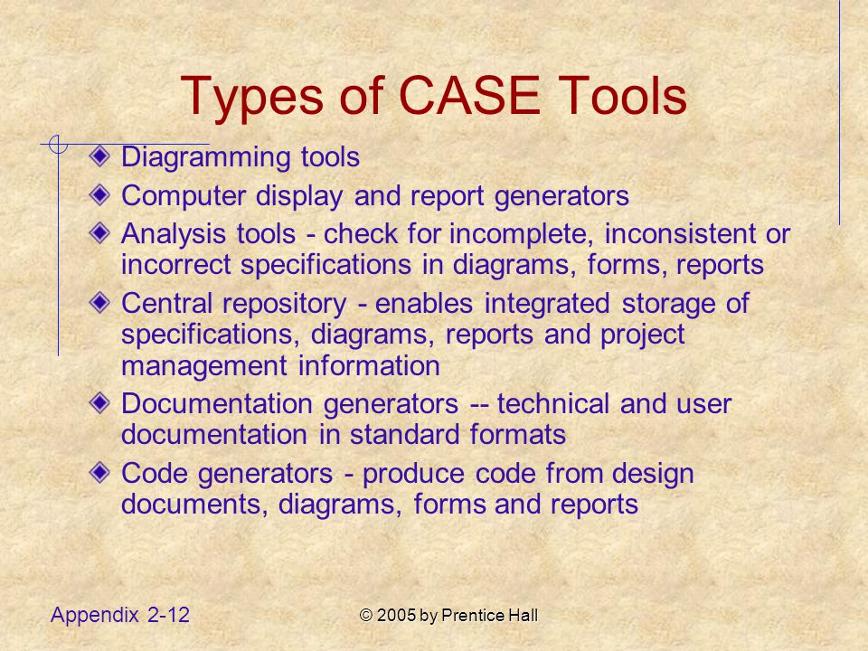 © 2005 by Prentice Hall Appendix 2-12 Types of CASE Tools Diagramming tools Computer display and report generators Analysis tools - check for incomplete, inconsistent or incorrect specifications in diagrams, forms, reports Central repository - enables integrated storage of specifications, diagrams, reports and project management information Documentation generators -- technical and user documentation in standard formats Code generators - produce code from design documents, diagrams, forms and reports
