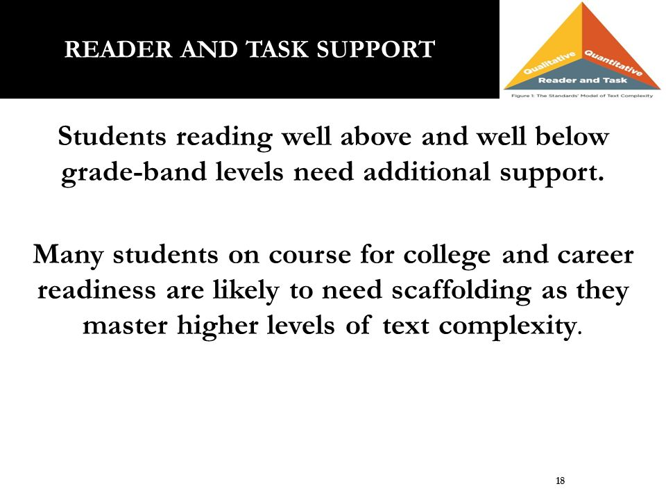 Students reading well above and well below grade-band levels need additional support. Many students on course for college and career readiness are lik