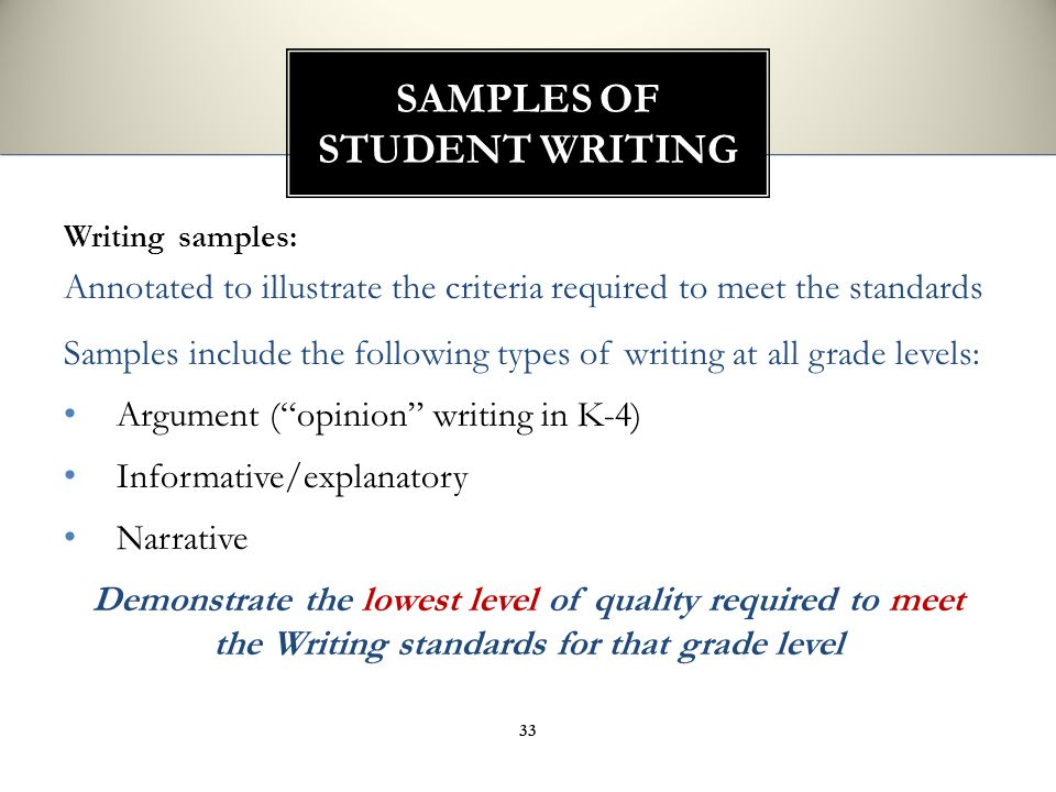 Writing samples: Annotated to illustrate the criteria required to meet the standards Samples include the following types of writing at all grade level